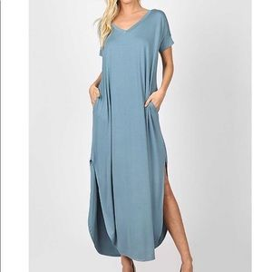 SALE!!! Blue Grey Maxi Dress With Pockets